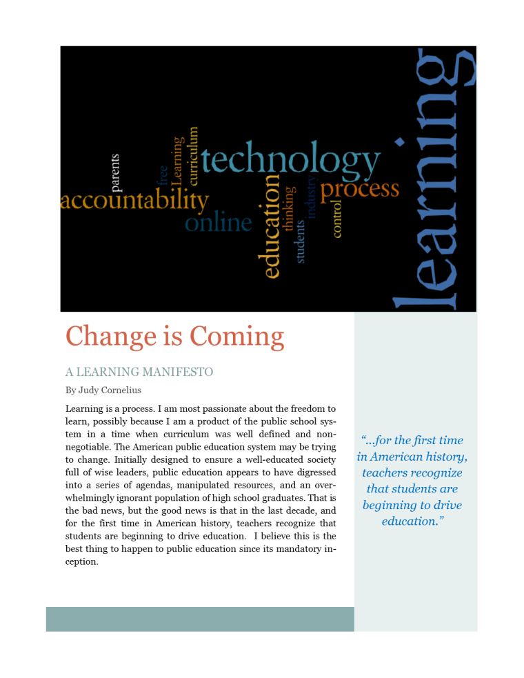 manifesto pg 1 Change is Comming